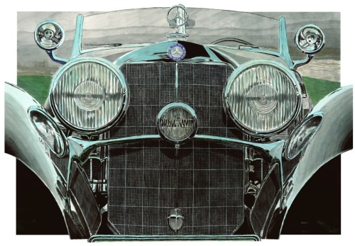 540K Mercedes Grille by Automotive art by Richard Lewis