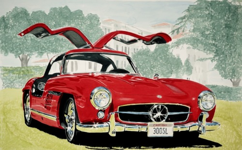 Gullwing by Automotive art by Richard Lewis