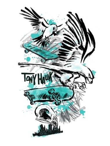 Hawk Sketch Splatter