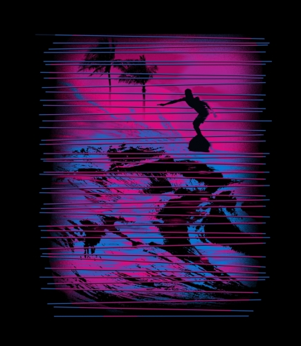 Surfer Neon Lines