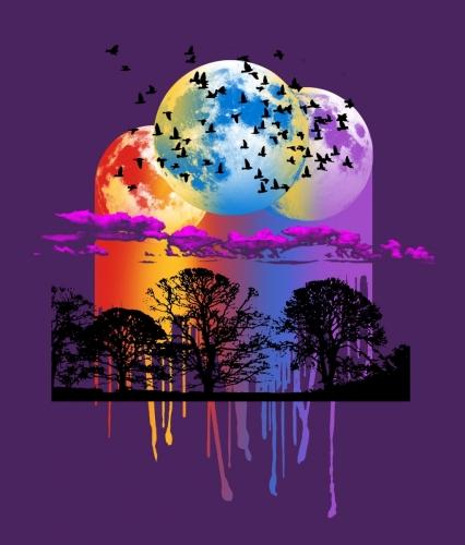 Triple Moon Sunset