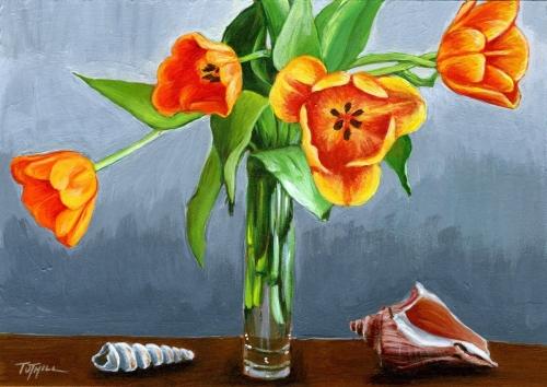 Orange Tulips and Shells