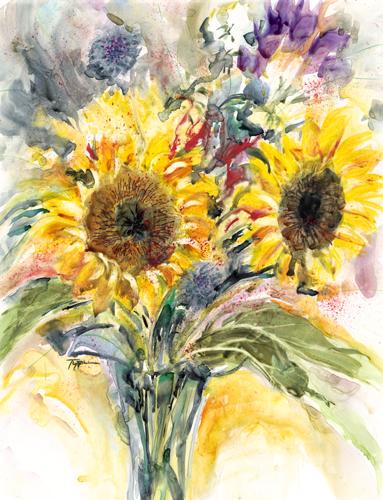 Impressionistic Sunflowers