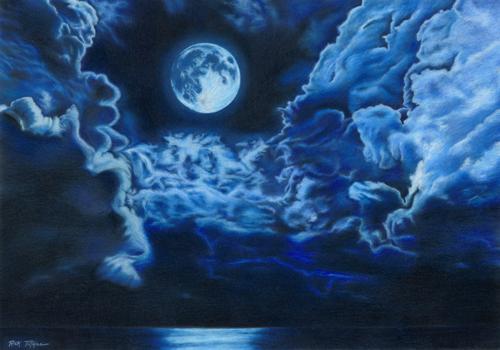 Clouds Moon & Sea