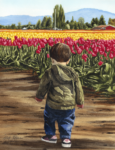 Evan At The Tulip Field