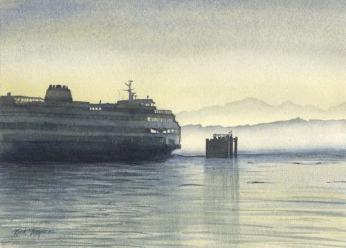 Ferry At Dusk