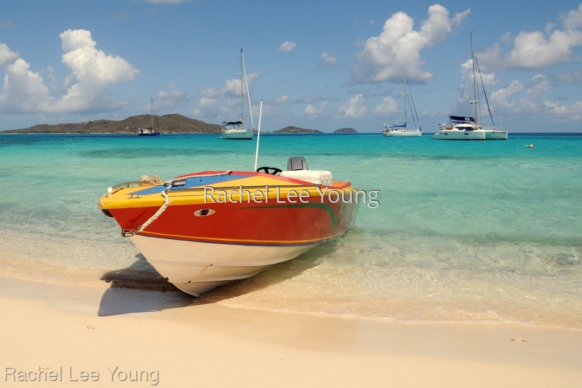 Boat in Tobago Cays (large view)