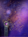 Evocative painting of life as a constant... from Love's spark to passing on; we reach out, are born, and evolve to kiss the cosmos in untold ways. Fine Art, original painting. (thumbnail)