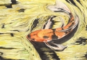 watercolor painting of an orange and black koi fish swimming in an abstract green, yellow and black pond (thumbnail)