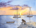 watercolor painting of a sunset on St. Martin Island with sailboats moored in the background and a fisherman repairing his nets in the forground as the golden sun sets (thumbnail)