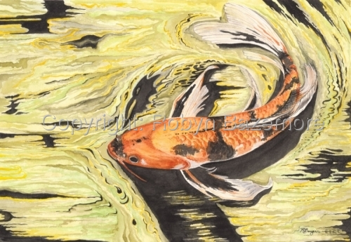 watercolor painting of an orange and black koi fish swimming in an abstract green, yellow and black pond   (large view)