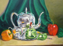 Silver Tea Set and Peppers