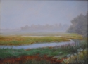 oil painting of a marsh in early morning mist