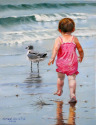 OIL PAINTING OF A BABY GIRL CHASING A BIRD ON THE BEACH (thumbnail)