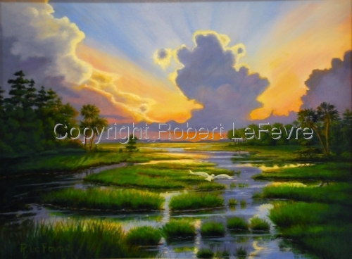 """GLORIOUS MARSH SUNSET"" (large view)"