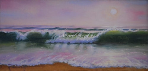 oil painting of a wave crashing on the shore during a soft sunset (thumbnail)