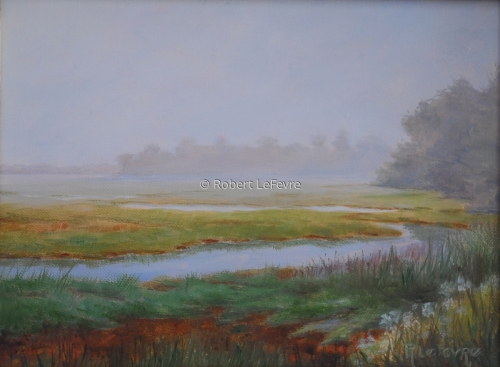 oil painting of a marsh in early morning mist (large view)