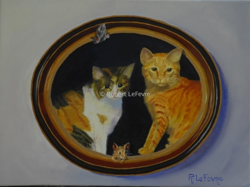 OIL PAINTING OF TWO CATS WITH MICE. (large view)
