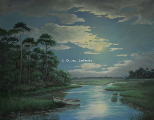 """MOON LIGHT ON THE MARSH"" (large view)"