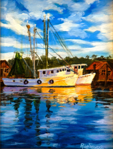 Painting--Oil-MarineSHRIM BOATS AGLOW