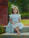Pretty Painting of Girl outside in lace dress (thumbnail)