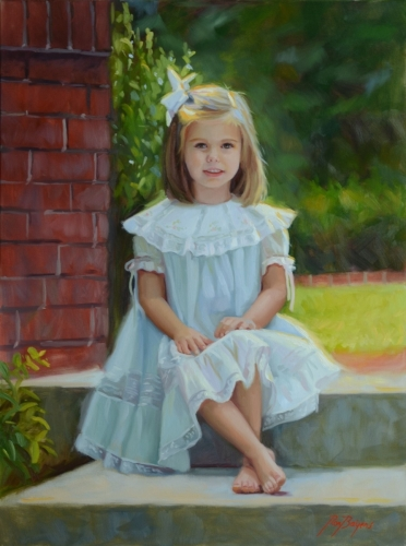 Pretty Painting of Girl outside in lace dress