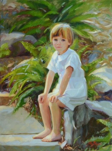 Outside Painting of a Young Boy