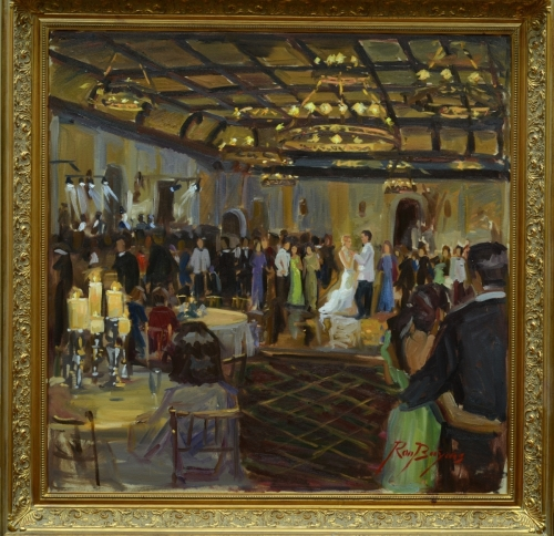 First Dance Painting of Newlyweds at Reception (large view)