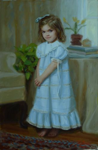 Abigail, formal indoor portrait of a young girl (large view)
