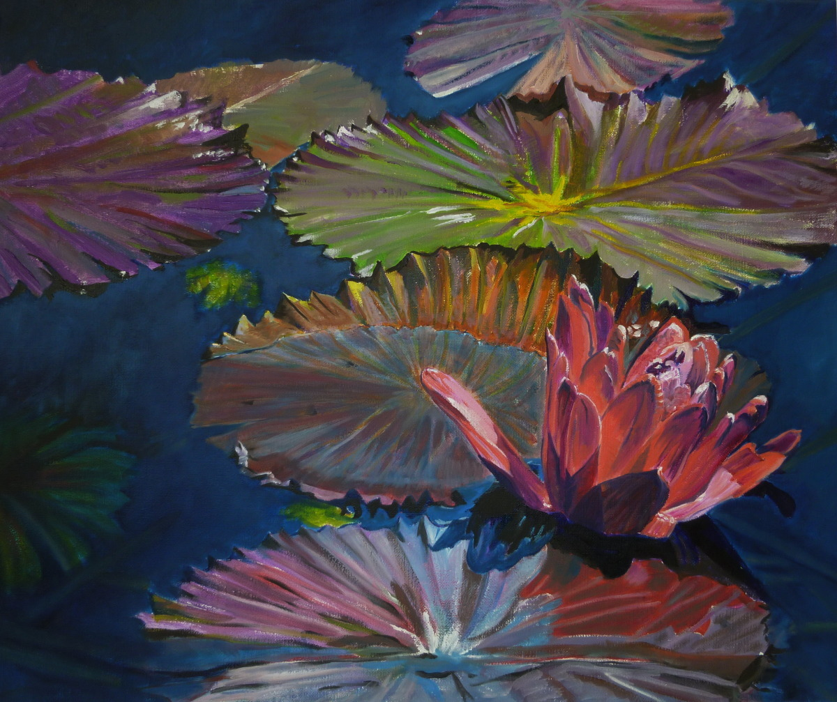 Painting of water lily in the impressionist style.  (large view)