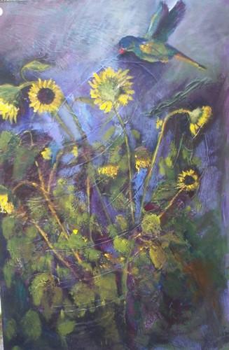 Bird and Sunflowers