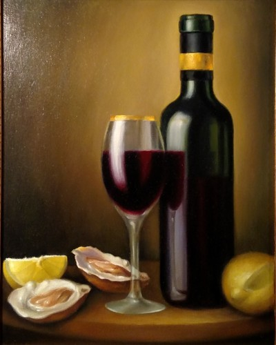 Still Life with Wine and Oysters by Alex Rosenkreuz