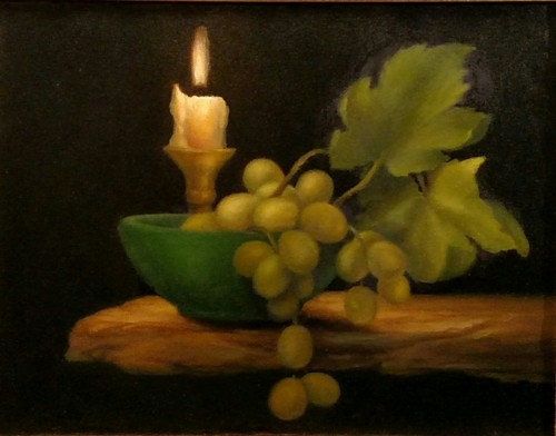 Still Life with Grapes in Candlelight