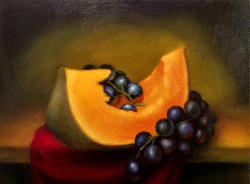 Still Life with Pumpkin and Grapes  by Alex Rosenkreuz