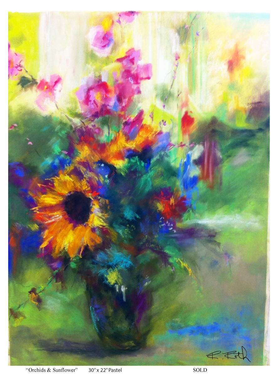 Orchids & Sunflower by Roseanne Roth (large view)