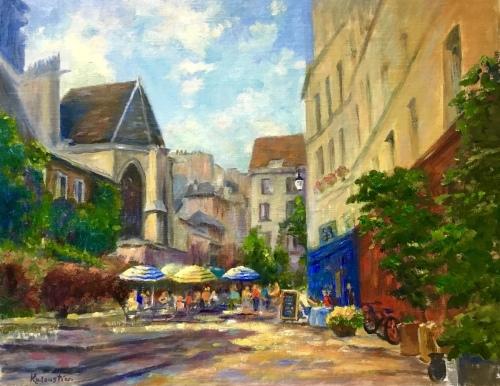Paris Street - rue des Barres . by Rosanne Kaloustian