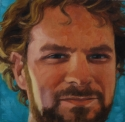 Realistic, oil painting, close up portrait of a handsome man smiling. Blue background (thumbnail)