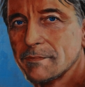 Realistic, oil painting, close up, portrait of an attractive man. blue background. (thumbnail)