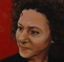 realistic, oil painting, close up portrait of an attractive woman's face. Red background. (thumbnail)