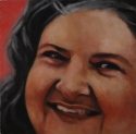 realistic, oil painting, close up, portrait of a woman's face. Pink background. (thumbnail)
