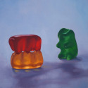 Roxanne Patruznick, art, realism, realistic, still life, painting, oil, print, narrative, humor, gummy bears, gummi bears, kitsch, sex, whimsical, goofy, silly, voyeurism, alternative lifestyle, playful, fun, funny (thumbnail)