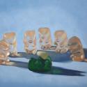 Roxanne Patruznick, art, realism, realistic, still life, painting, oil, print, narrative, humor, gummy bears, gummi bears, kitsch, whimsical, goofy, silly, death, alternative lifestyle, playful, fun, funny, weird, unusual (thumbnail)