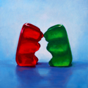Roxanne Patruznick, art, realism, realistic, still life, painting, oil, print, narrative, humor, gummy bears, gummi bears, kitsch, love, sweet, valentines, romance, whimsical, goofy, silly, alternative lifestyle, playful, fun, funny, absurd (thumbnail)