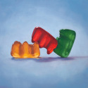Roxanne Patruznick, art, realism, realistic, still life, painting, oil, print, narrative, humor, gummy bears, gummi bears, kitsch, love, threesome, polyamory, naughty, dirty, adult, whimsical, goofy, silly, alternative lifestyle, playful, fun, funny, (thumbnail)