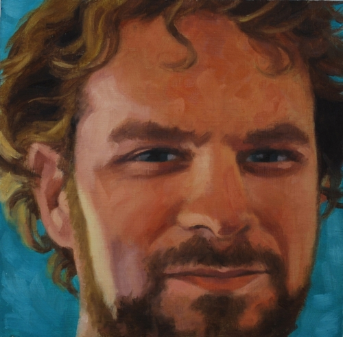 Realistic, oil painting, close up portrait of a handsome man smiling. Blue background (large view)