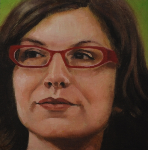 Realistic, oil painting, close up, portrait of an attractive woman, wearing red glasses. Pale green background (large view)