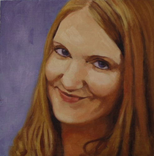 realistic, oil painting, close up, portrait of an attractive woman, smiling. Purple background. (large view)
