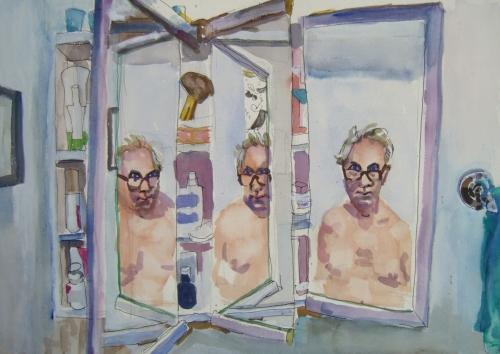 triple self portrait in the medicine cabnet
