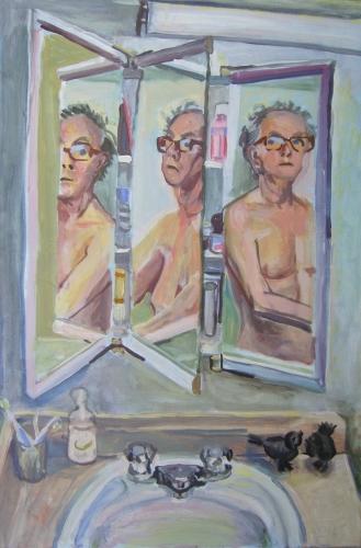 triple self portrait in the medicin chest
