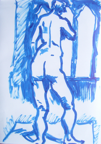 blue standing nude